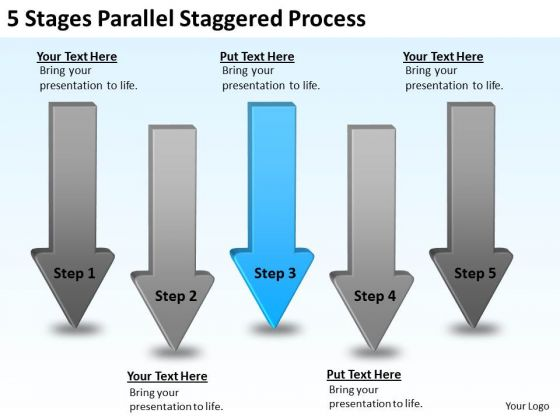 PowerPoint Arrow Shapes 5 Stages Parallel Staggered Process Slides