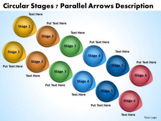 PowerPoint Arrow Shapes Circular Stages 7 Parallel Arrows Description Slides