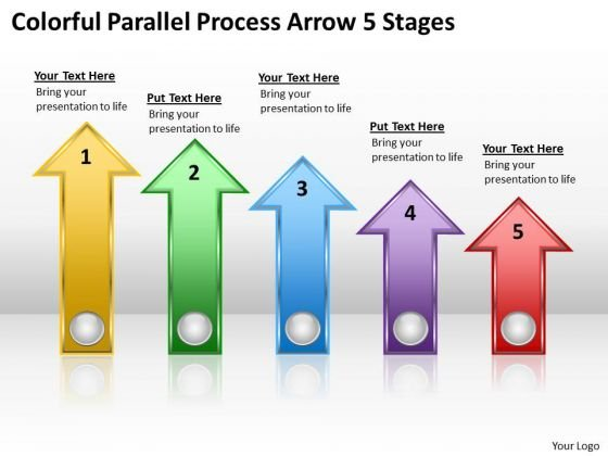 PowerPoint Arrow Shapes Colorful Parallel Process 5 Stages Slides