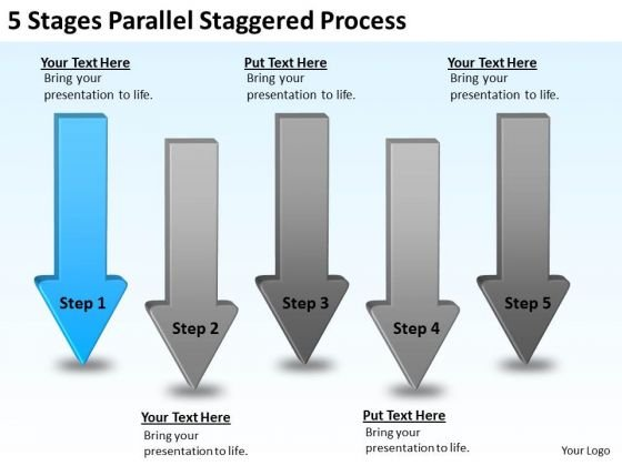 PowerPoint Arrows 5 Stages Parallel Staggered Process Templates