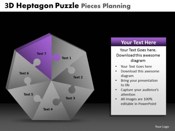 PowerPoint Backgrounds Business Heptagon Puzzle Ppt Designs