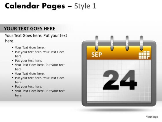 PowerPoint Backgrounds Calendar 24 Sep Growth Ppt Templates