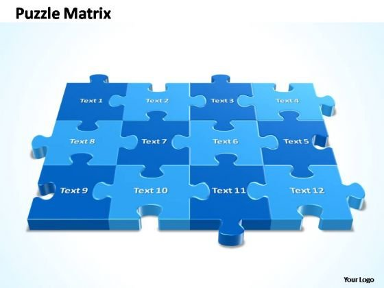 PowerPoint Backgrounds Chart 4x3 Rectangular Jigsaw Puzzle Matrix Ppt Design