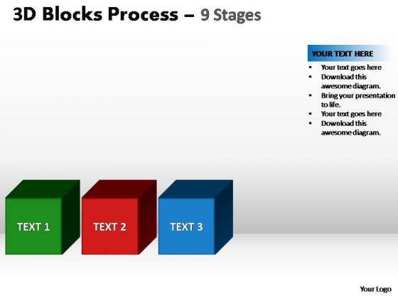 PowerPoint Backgrounds Chart Blocks Process Ppt Slide