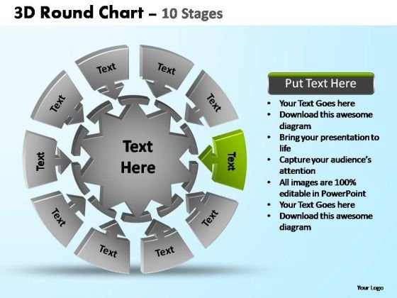 PowerPoint Backgrounds Chart Pie Chart With Arrows Ppt Slide