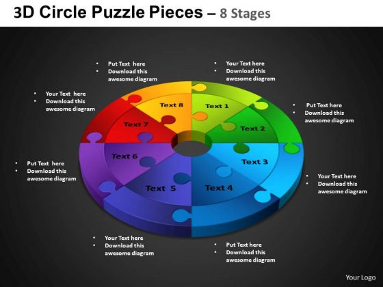 PowerPoint Backgrounds Circular Chart Circle Puzzle Diagram Ppt Slide