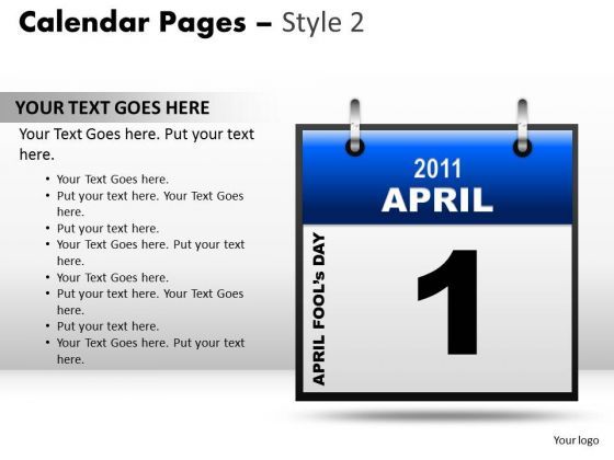 PowerPoint Backgrounds Company Calendar 1 April Ppt Design
