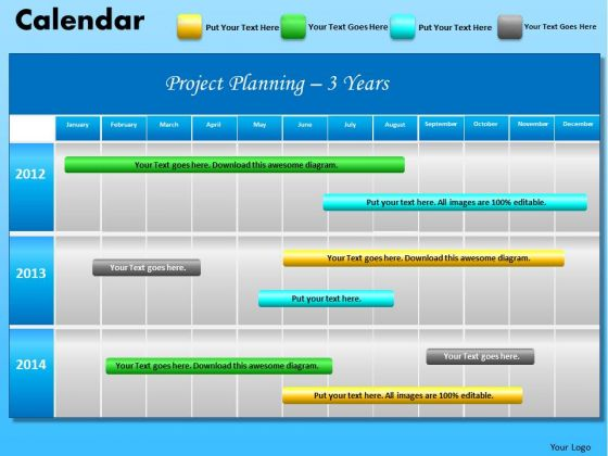 PowerPoint Backgrounds Company Success Blue Calendar 2012 Ppt Slides