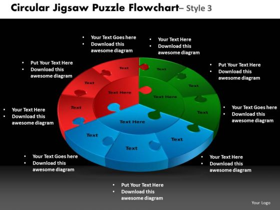 PowerPoint Backgrounds Cycle Chart Circular Jigsaw Ppt Slides