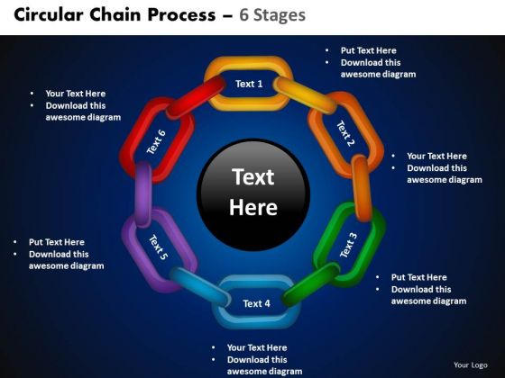 PowerPoint Backgrounds Cycle Process Circular Chain Ppt Designs