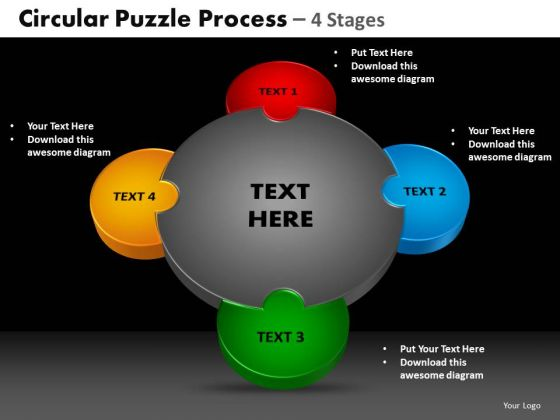 PowerPoint Backgrounds Cycle Process Circular Puzzle Ppt Layout