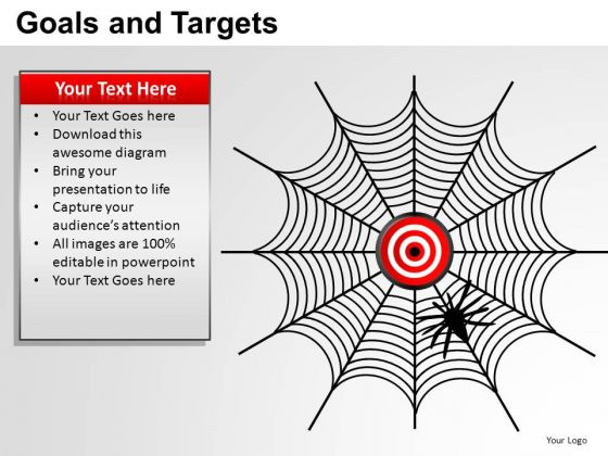 PowerPoint Backgrounds Diagram Goals And Targets Ppt Slide
