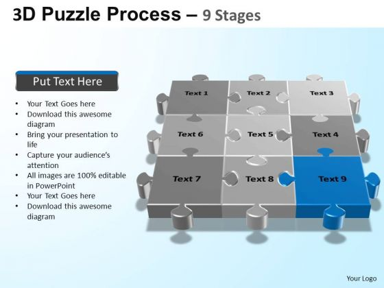 PowerPoint Backgrounds Download Puzzle Process Ppt Template