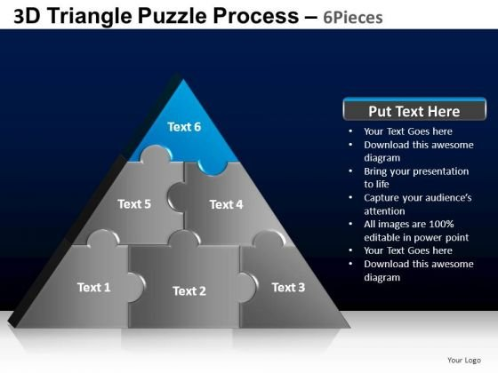 PowerPoint Backgrounds Editable Triangle Puzzle Ppt Template