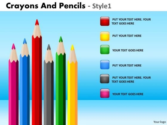 PowerPoint Backgrounds Executive Education Crayons And Pencils Ppt Slide
