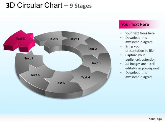 PowerPoint Backgrounds Growth Circular Chart Ppt Template