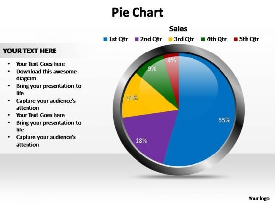 PowerPoint Backgrounds Growth Glossy Pie Chart Ppt Design Slides