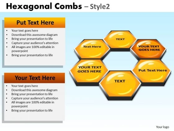 PowerPoint Backgrounds Hexagon Diagram Hexagonal Combs Ppt Templates