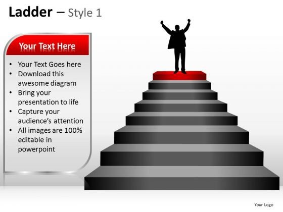PowerPoint Backgrounds Leadership Ladder Ppt Design Slides