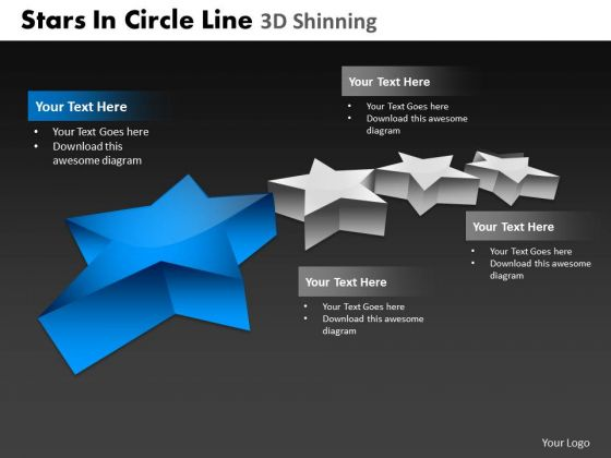 PowerPoint Backgrounds Leadership Stars In Circle Ppt Process