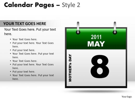 Marketing PowerPoint Background Calendar 8 May Ppt Slide