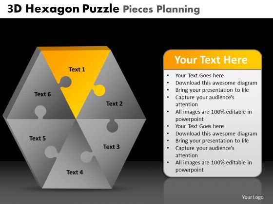PowerPoint Backgrounds Marketing Hexagon Puzzle Ppt Themes