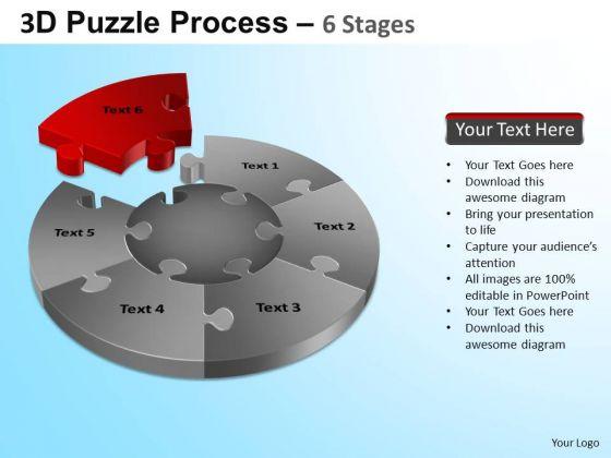 PowerPoint Backgrounds Process Jigsaw Pie Chart Ppt Design Slides