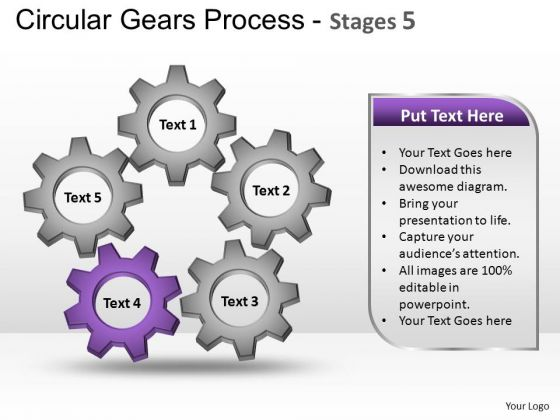 PowerPoint Backgrounds Strategy Circular Gears Ppt Process