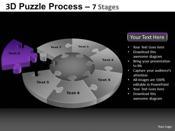 PowerPoint Backgrounds Success Pie Chart Puzzle Process Ppt Layout