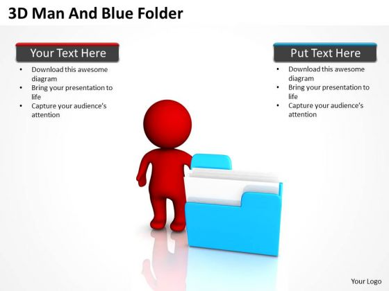PowerPoint Business 3d Man And Blue Folder Slides