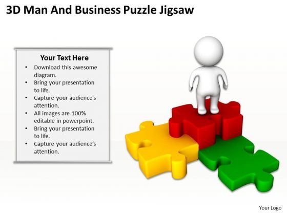 PowerPoint Business 3d Man And Puzzle Jigsaw Slides