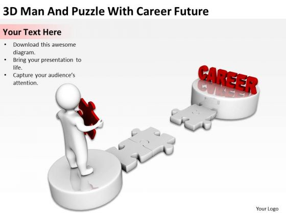 PowerPoint Business 3d Man And Puzzle With Career Future Slides