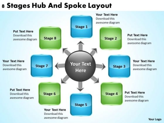 PowerPoint Business 8 Stages Hub And Spoke Layout Templates
