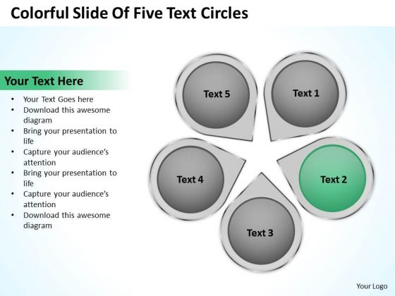 PowerPoint Business Colorful Slide Of Five Text Circles Ppt 2 Templates