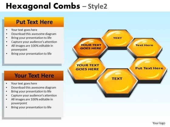 PowerPoint Chart Hexagon Graphic Hexagonal Combs Ppt Process