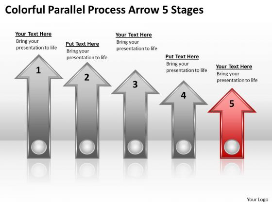 PowerPoint Circular Arrows Colorful Parallel Process 5 Stages Ppt Templates