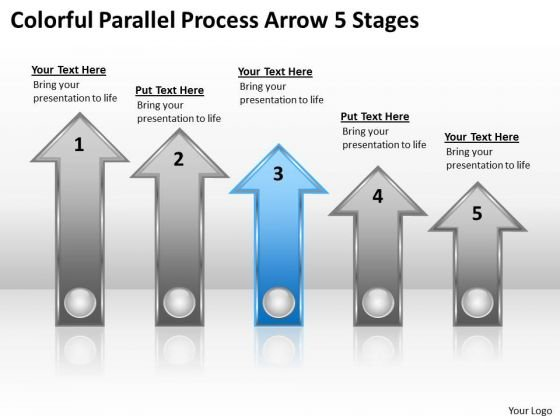 PowerPoint Circular Arrows Colorful Parallel Process 5 Stages Template