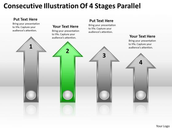 PowerPoint Circular Arrows Consecutive Illustration Of 4 Stages Parallel Ppt Templates