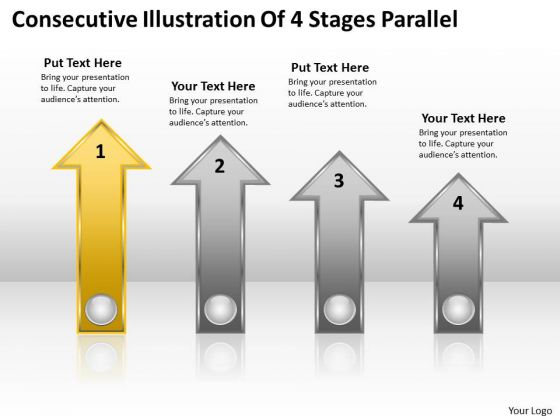 PowerPoint Circular Arrows Consecutive Illustration Of 4 Stages Parallel Templates