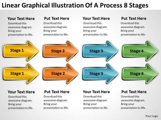 PowerPoint Circular Arrows Linear Graphical Illustration Of Process 8 Stages Templates