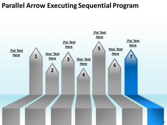 PowerPoint Circular Arrows Parallel Executing Sequential Program Slides
