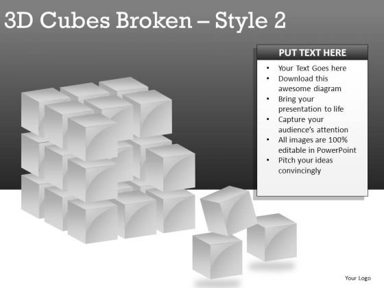 PowerPoint Clipart 3d Cube Broken PowerPoint Slides And Ppt Diagram Templates