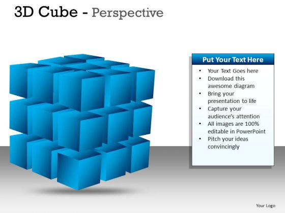 PowerPoint Clipart Graphic Editable Colors 3d Cube
