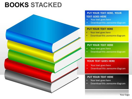 PowerPoint Clipart Graphics Editable Books Stacked PowerPoint Slides And Ppt Diagram Templates