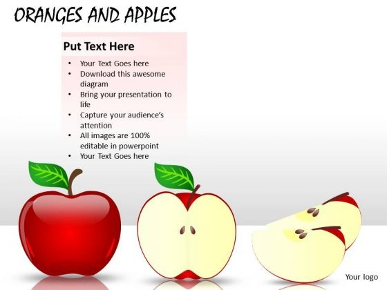 PowerPoint Clipart Graphics Showing Whole And Sliced Apples PowerPoint Slides