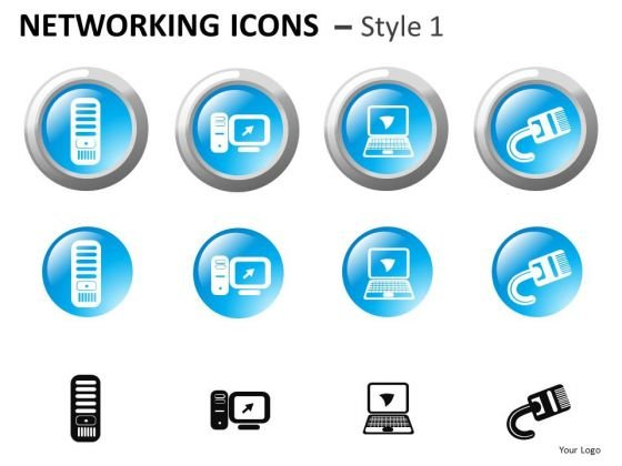 PowerPoint Clipart Showing Computer Networking Icons PowerPoint Slide Graphics