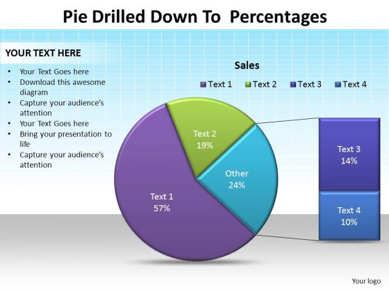 PowerPoint Data Driven Graphic Pie Drilled Down Ppt Theme