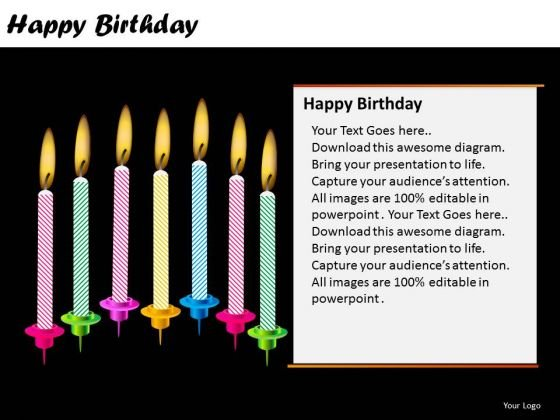 PowerPoint Design Candles Happy Birthday Ppt Templates
