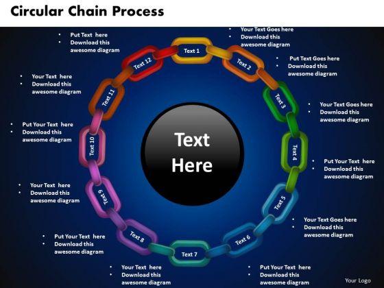PowerPoint Design Circular Chain Process Teamwork Ppt Designs