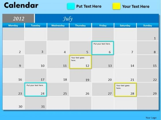 PowerPoint Design Corporate Education July Calendar 2012 Ppt Theme